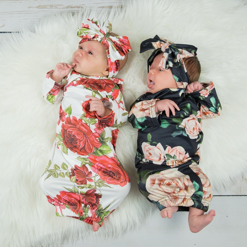 c8e735464 Baby Girl Gown with Headband baby girl gown baby girl