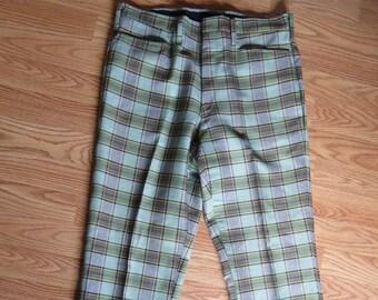 Vintage 70's Green Plaid Lee Leesures Pants, Slacks