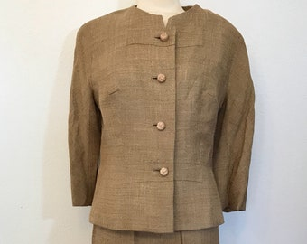 f839b509dd9 I. Magnin 40 s Two Piece Light Brown Jacket and Skirt Suit Set