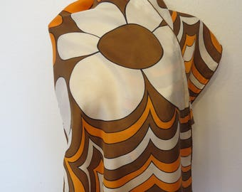 Vintage 60's 70's Mod Flower Power Long Scarf in Brown, Orange and White