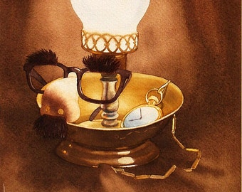 "Groucho Marx ""Groucho's Nightstand"" original watercolor painting by Disney Artist Dave Woodman"