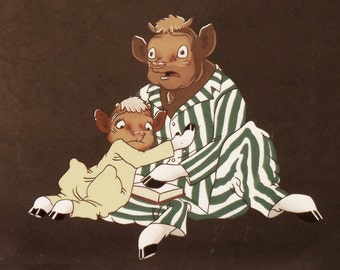 Elmer & Beauregard the Borden cows, original production cel
