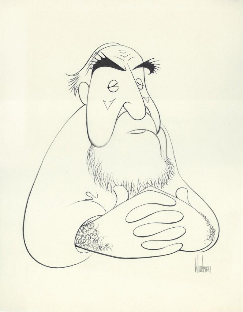 Al Hirschfeld Original Prismicolor Drawing By Disney Artist Dave Woodman