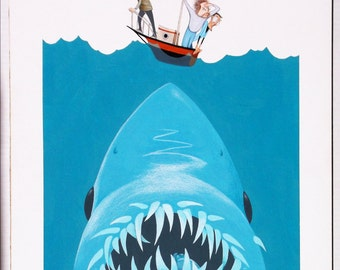 JAWS original acrylic painting by Disney Artist Dave Woodman