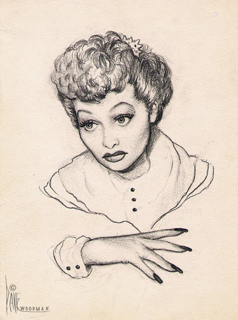 LUCILLE BALL original pencil drawing by Dave Woodman | Etsy