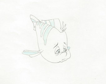THE LITTLE MERMAID  original Flounder production drawing