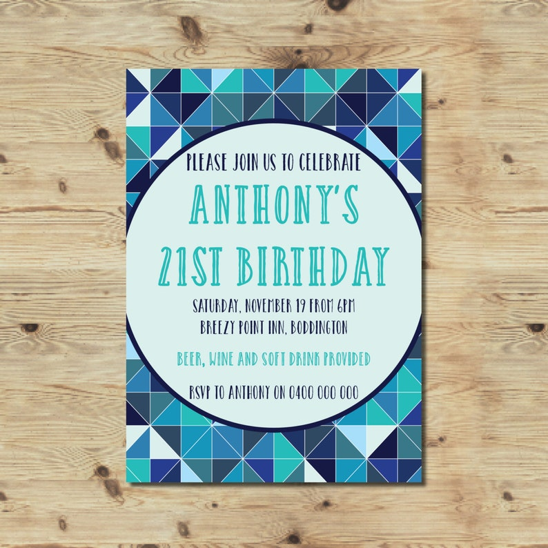21st Birthday Invitation Male