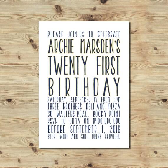 21st Birthday Invitation Male Typographic