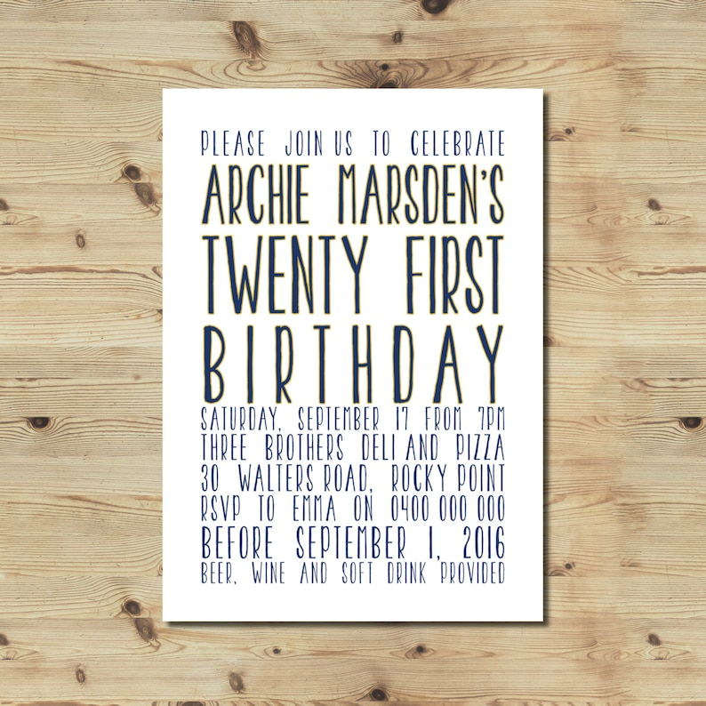 21st Birthday Invitation Male Typographic