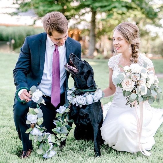 Personalized Flower Dog Leash Sustainable Dog Lead Dog of Honor Pet Wedding Custom Order Floral Dog Leash and Collar Wedding Dog Set