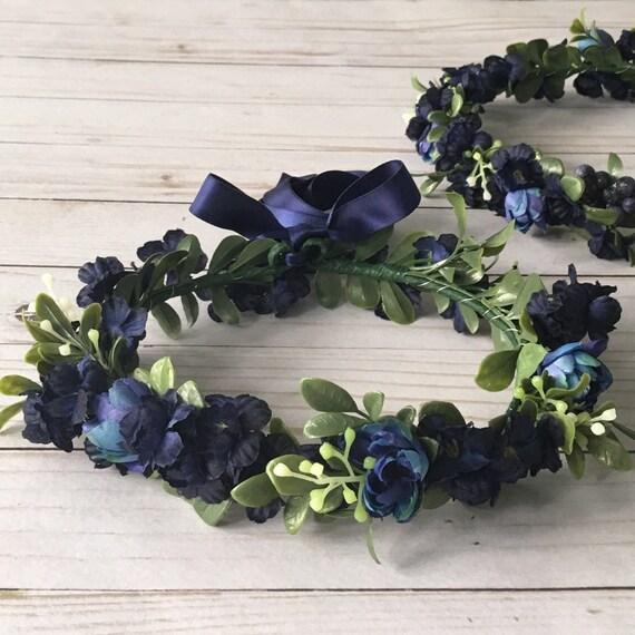 Navy Blue Flower Crown Blue Flower Girl Flower Crown Blue  97448ad21a7