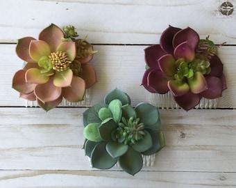 Succulent Hair Comb, Wedding Succulent Comb, Flower Girl Hair Comb, Boho Flower Comb, Succulent Hair Accessory, Colored Succulents