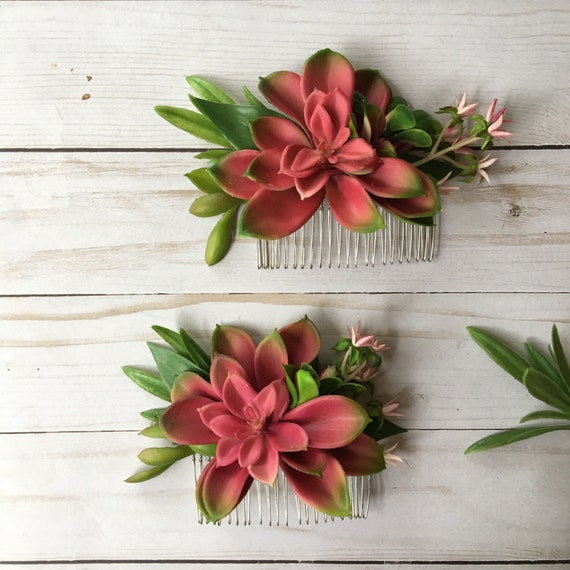 Pink succulent hair comb wedding succulent comb flower girl etsy image 0 mightylinksfo