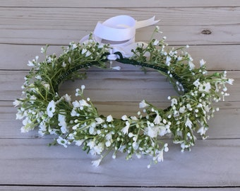 Baby's Breath Flower Crown, White Boho Flower Crown, Flower Girl Flower Crown, Child Floral Crown, Boho Flower Girl, All White Flower Crown