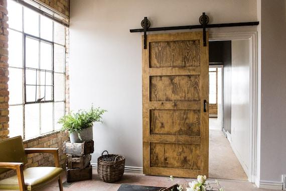 Black 6 8 FT Rustic Sliding Barn Door Closet Hardware Set