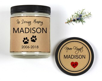 Pet Memorial Gifts Personalized Candle, 8oz Scented Candle For Dog Lovers, Cat Lovers