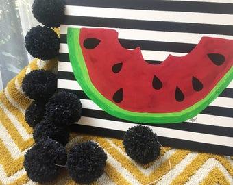 Black with specks of color Pom Pom Garland, Black Yarn Pom Pom Garland