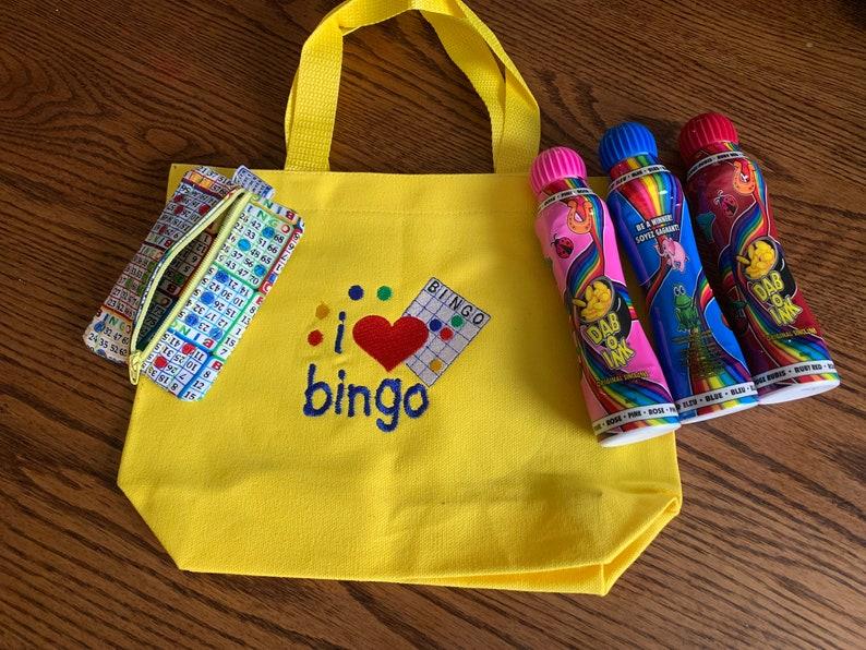 I Love Bingo Canvas Tote Bag Bingo Daubers Keychain Coin Purse