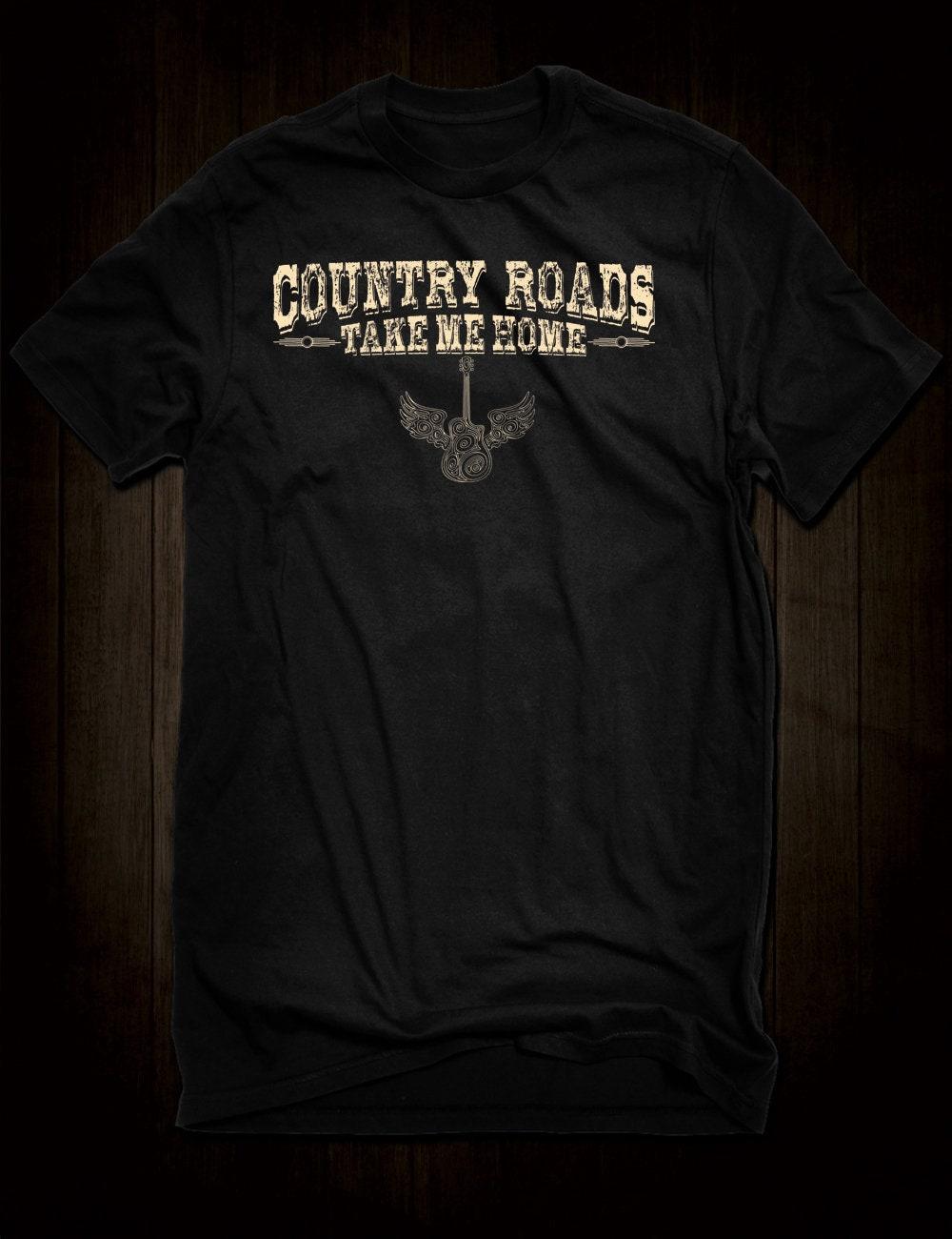 Routes de campagne Me prennent de la maison John Country Denver T-Shirt  lyrique musique a68e5e150996