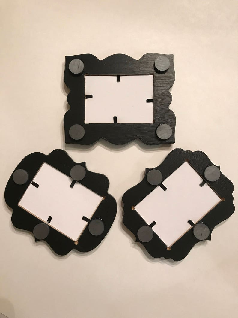 set of 3 solid black 2.5x3.5 Wallet Size Whimsical Magnet Picture Frames