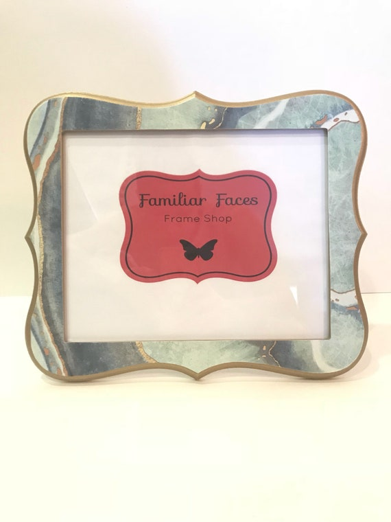 8x10 Whimsical Picture Frame In Teal Navy Blue Turquoise Gold Etsy