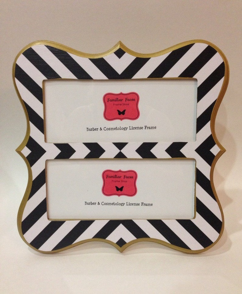 Double Barber /& Cosmetology License Frame black and white stripes with gold metallic trim fits 2-8 12 x 3 58 business certifications