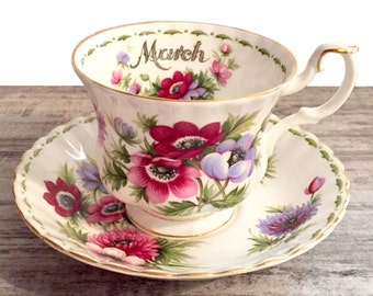 Vintage Royal Albert March Tea Cup and Saucer, Flower of the Month Series Teacup, Anemone Flowers, Birthday Gift, Montrose Cup, England