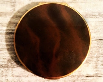 Vintage Stratton Compact Enamel Brown Marble, Ladies Powder Compact Mirror with Powder, Round Gold-tone Pocket Mirror Case, Made in England