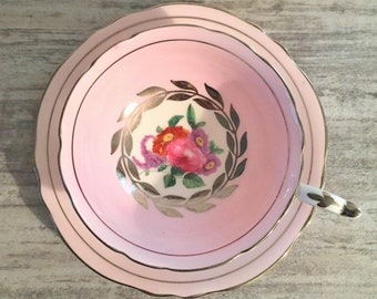 Vintage Paragon Tea cup and Saucer, Floral Spray Center Silver Trim Laurel, Pink Paragon Teacup, Double Warranted, Fine Bone China, G6093/4