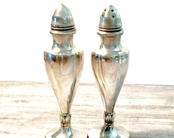 Vintage Silver Viking Salt and Pepper Shakers, Electroplated S&P Shakers, Mid-Century Home Decor, C.15 Viking 42, Pedestal, Made in Canada