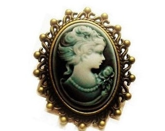 Victorian Cameo Brooch Pin, Pretty Brooch, Lady Cameo, Womens Brooch, Oval Brooch, Blue Grey Cameo Ladies Brooch Antique Bronze style