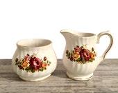 Vintage Sadler Windsor Stacking Creamer and Sugar Bowl, Retro Floral Cream and Sugar Set, Nesting, Tea Party Table Decor, Fine Porcelain