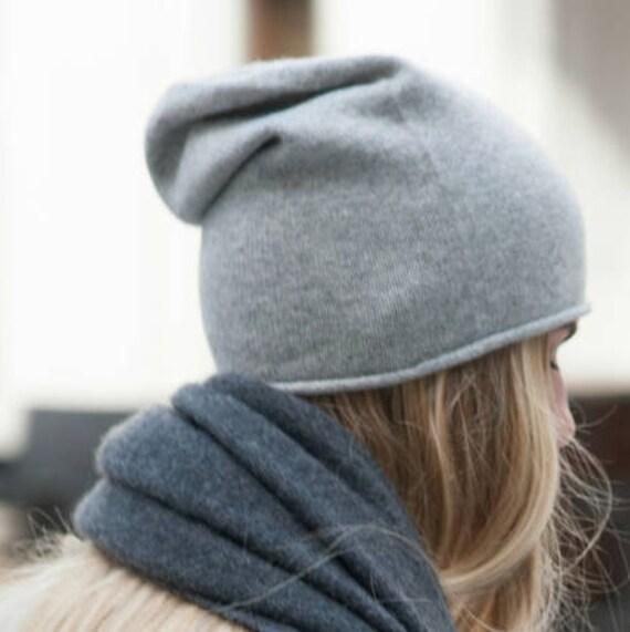 Cashmere blend beanie hat women s headwear hand knitted  8af98e45cf1