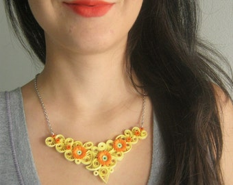 Necklace with orange flowers, ecological jewelry, Gift for girlfriend, 21st birthday, gift for mum, gift for sister