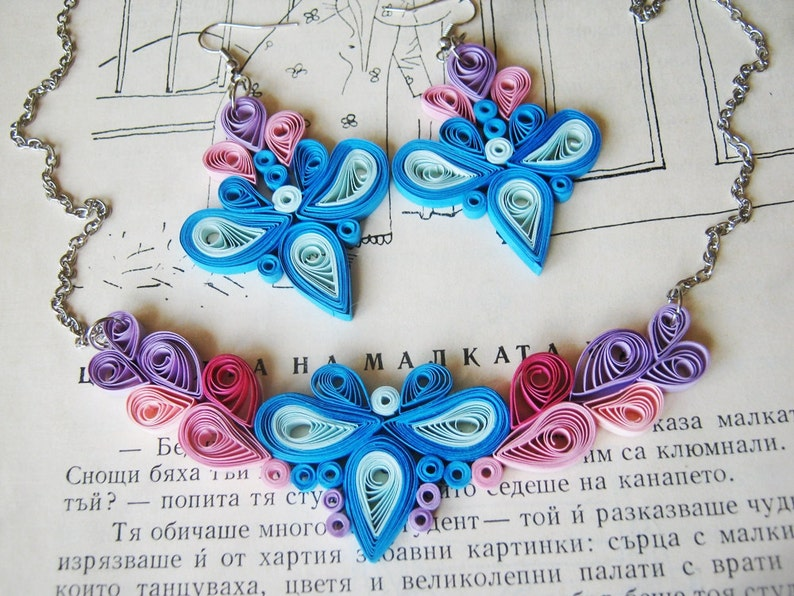 First Anniversary Necklace gift,Modern Paper Necklace Statement Necklace and Chandelier Earrings Colorful Paper Jewelry