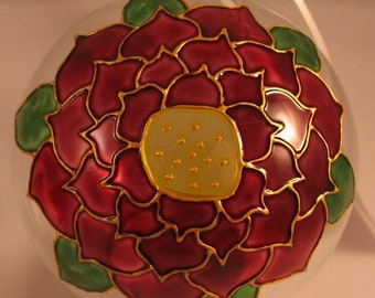 Hand-painted Poinsettia Glass Christmas Tree Bauble 8cm