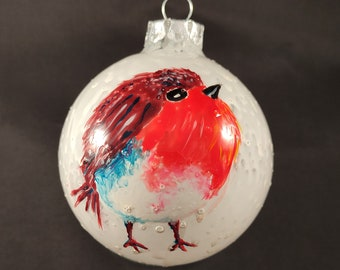 Hand-painted Robin Glass Christmas Tree Bauble 8cm