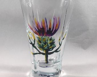 Hand-painted Scottish Thistle Shot Glass, Sherry Glass, Port Glass, Liqueur Glass