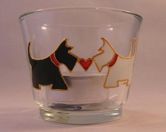 Hand-painted Scottish Scottie Dog Couple Tea-light Holder