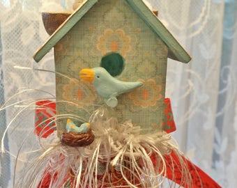 Bluebird Nest Birdhouse Decorative Tassel
