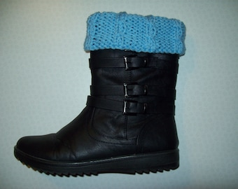 Boot Toppers / Boot Cuffs / Boot Edging with cable detail. Sky BLUE; STONE; OATMEAL. Hand knit 100% acrylic