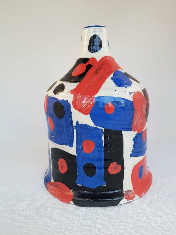 Handmade Decorative Bottle, Blue, red, white and black with hand painted Joan Miró style slip decoration
