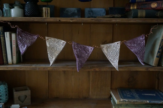 Purple and Grey, Handmade Ceramic Bunting on curled copper wire, unique dresser or wall decoration, Last one!