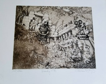 """CHARLES BRAGG /""""VANITY/"""" Hand Signed Limited Edition Etching RARE!"""
