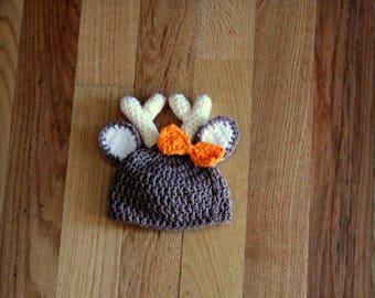 Girl Deer Antler Hat, Bow Hat, Hunting Hat, Raindeer, Winter Hat, Photo Prop, Girls Hat, Crochet Hat, Antler, Baby Pictures, Deer Hunter