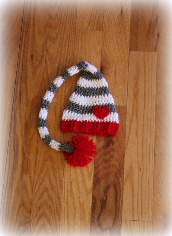Striped Long Tail Elf Baby Crochet Hat
