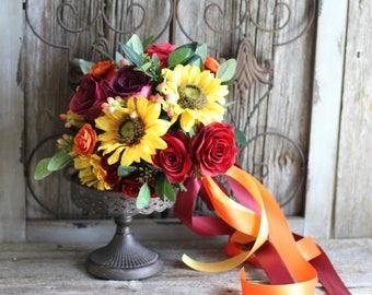 Fall Yellow Sunflower Ranunculus, Roses, Berries Silk Wedding Bouquet
