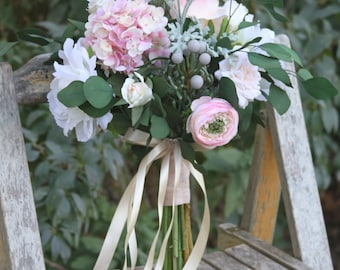 Loose Vintage Blush Cream & Eucalyptus Greenery Silk Wedding Bouquet