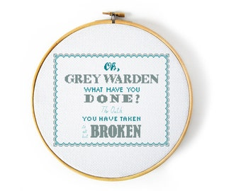 Dragon Age Inquisition Grey Warden Song Cross Stitch Pattern