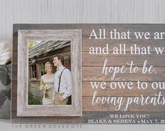 Mother Of The Bride Gift - Mother Of The Groom Gift - Wedding Gift For Mom - Gift From Daughter - Parents Thank You Gift , Custom Frame
